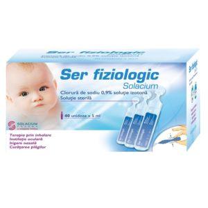 Ser fiziologic pentru igiena zilnica a nou-nascutilor 40x5ml Solacium