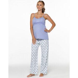 Pijama gravide sarcina si alaptare cu bretele violet Belabumbum
