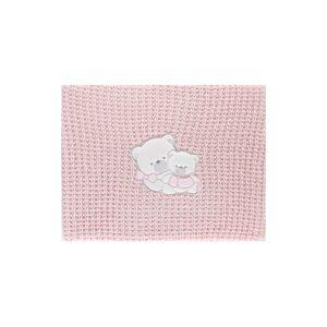 Paturica bebelusi culoare roz broderie ursulet 75x90cm Andy&Helen