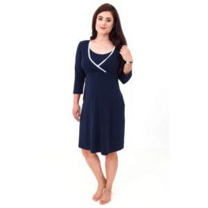 Camasa noapte gravide pentru sarcina si alaptare maneca lunga albastra RD