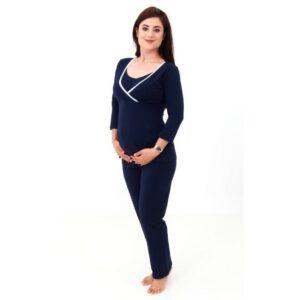 Pijama gravide sarcina si alaptare cu maneca lunga de culoare albastra RD