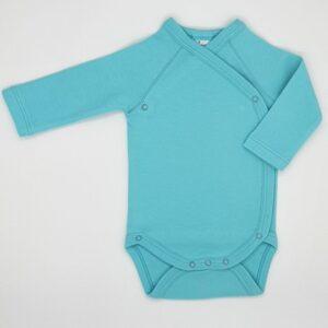 Body cu capse laterale pentru bebelusi nou nascuti maneca lunga din bumbac culoare blue turcoaz