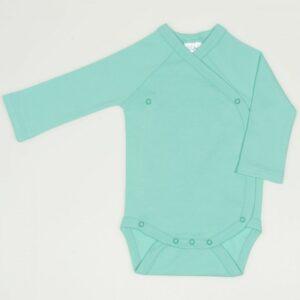 Body cu capse laterale pentru bebelusi nou nascuti maneca lunga din bumbac culoare verde turcoaz