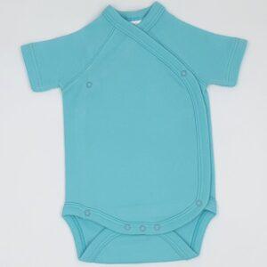 Body cu capse laterale pentru bebelusi nou nascuti maneca scurta din bumbac culoare blue turcoaz