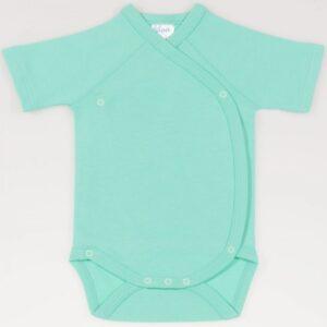 Body cu capse laterale pentru bebelusi nou nascuti maneca scurta din bumbac culoare verde turcoaz
