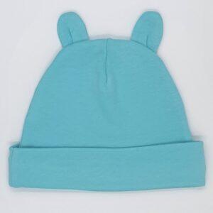 Caciulita bebelusi nou nascuti bumbac cu urechi de ursulet culoare blue turcoaz
