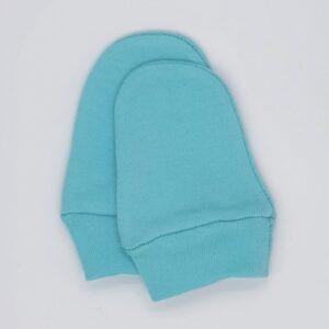Manusi pentru bebelusi nou-nascuti, din bumbac, de culoare bleu turcoaz