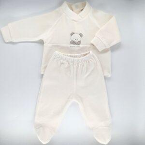 Compleu bebelusi maneca lunga din plus de culoare alb ivoire cu broderie ursulet Andy&Helen