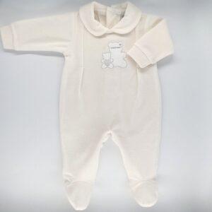 Salopeta bebelusi maneca lunga din plus de culoare alb ivoire cu broderie ursulet Andy&Helen