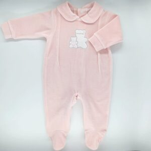 Salopeta bebelusi maneca lunga din plus de culoare roz cu broderie ursulet Andy&Helen
