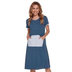 Camasa de noapte gravide pentru sarcina şi alaptare din bumbac cu maneca scurta de culoare albastru inchis DoctorNap