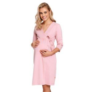 Halat gravide pentru sarcina si alaptare din bumbac, cu maneca lunga, de culoare roz, Doctor Nap